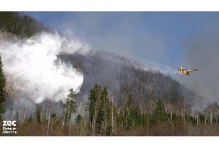 Les pompiers combattent toujours le feu de forêt dans la Zec rivière Blanche