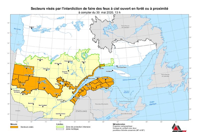 Levée de l'interdiction des feux à ciel ouvert dans Portneuf et La Jacques-Cartier